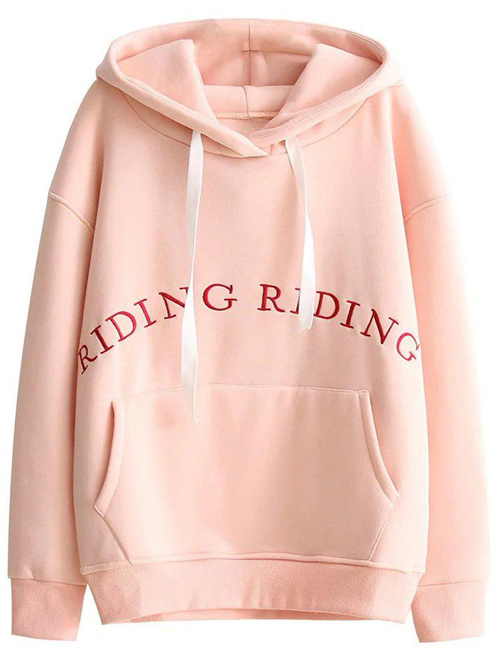 Embroidered Pocket Loose Hoodie - PINK S