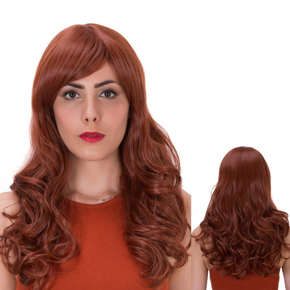 Prevailing Long Curly Side Bang Synthetic WigHair<br><br><br>Color: DARK AUBURN