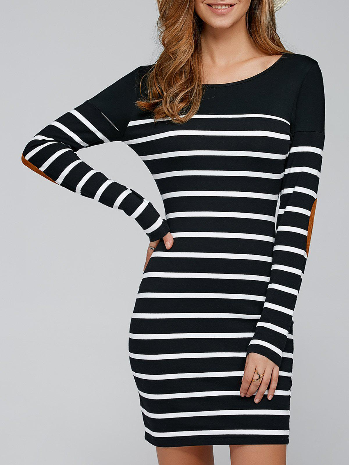 Elbow Patch Striped Long Sleve T-Shirt Dress striped elbow patch curved hem t shirt