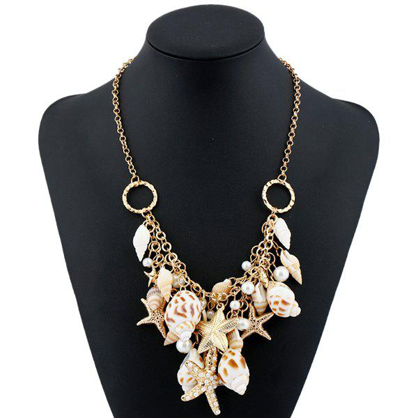 Faux Pearl Conch Circle Starfish Necklace rhinestone artificial pearl conch necklace