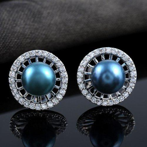 Faux Pearl Hollowed Stud Earrings цена