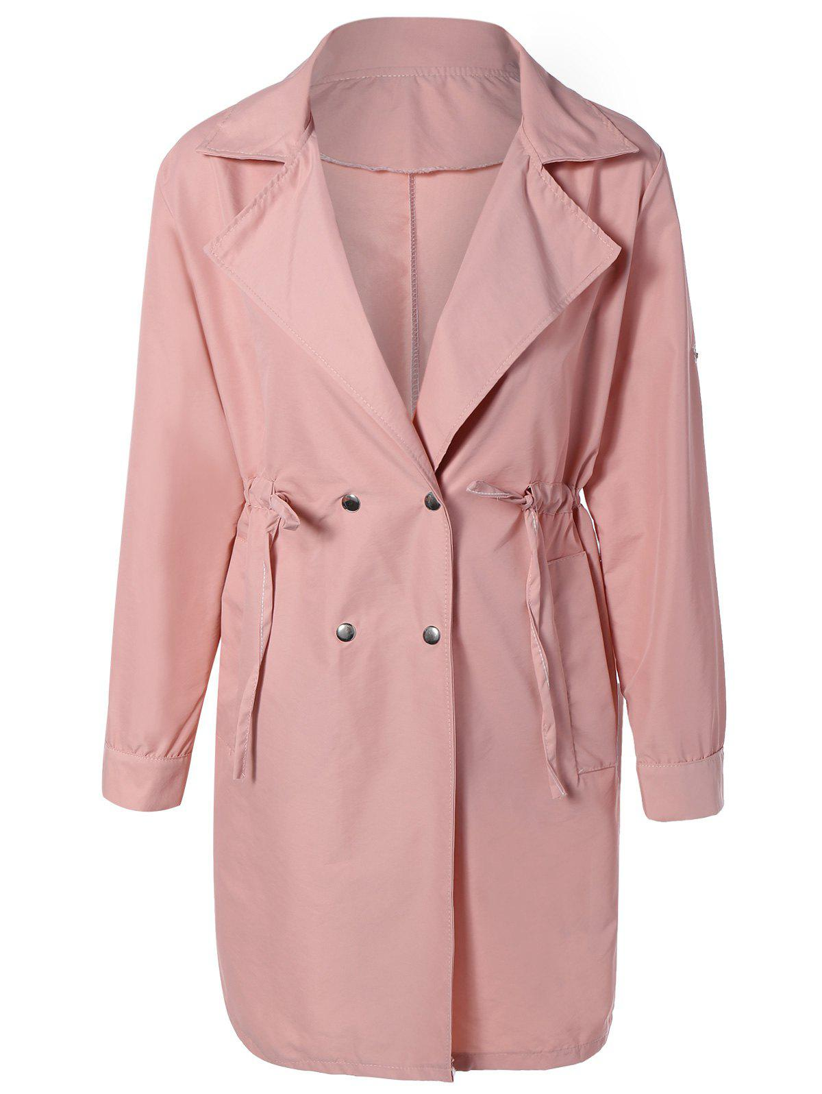 Drawstring Waist Double Breasted Long Trench Coat pink trench coat with drawstring waist