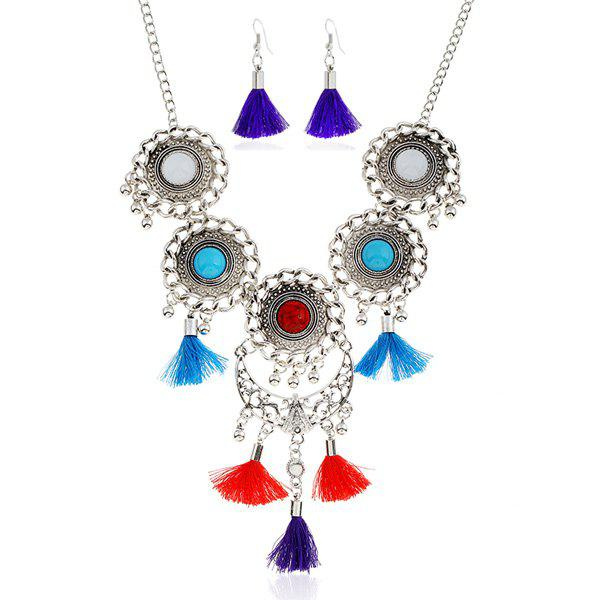 Tassel Floral Moon Layered Jewelry Set - COLORMIX