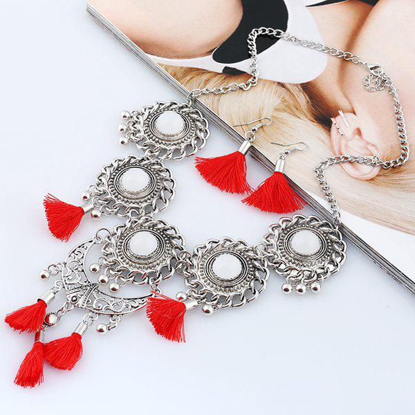 Tassel Floral Moon Layered Jewelry SetJewelry<br><br><br>Color: RED