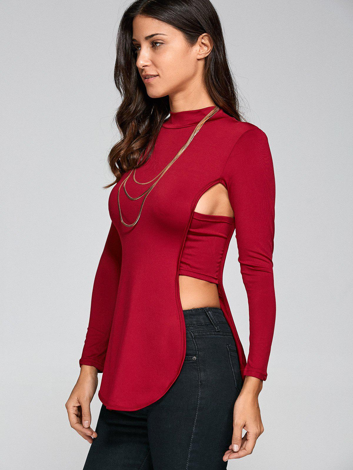Long Sleeve Cut Out Backless T-Shirt - WINE RED XL