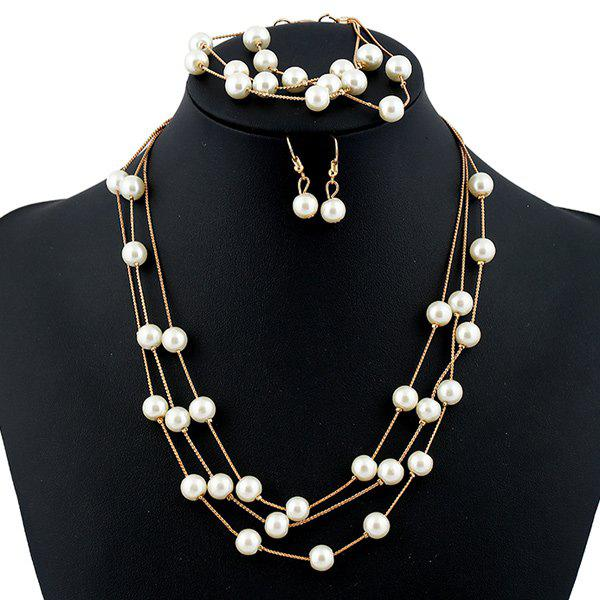 Artificial Pearl Necklace Earrings and Bracelet rhinestone artificial pearl bows earrings