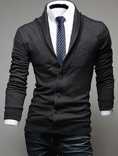 Long Sleeve Shawl Collar Button Up CardiganMen<br><br><br>Size: M<br>Color: DEEP GRAY