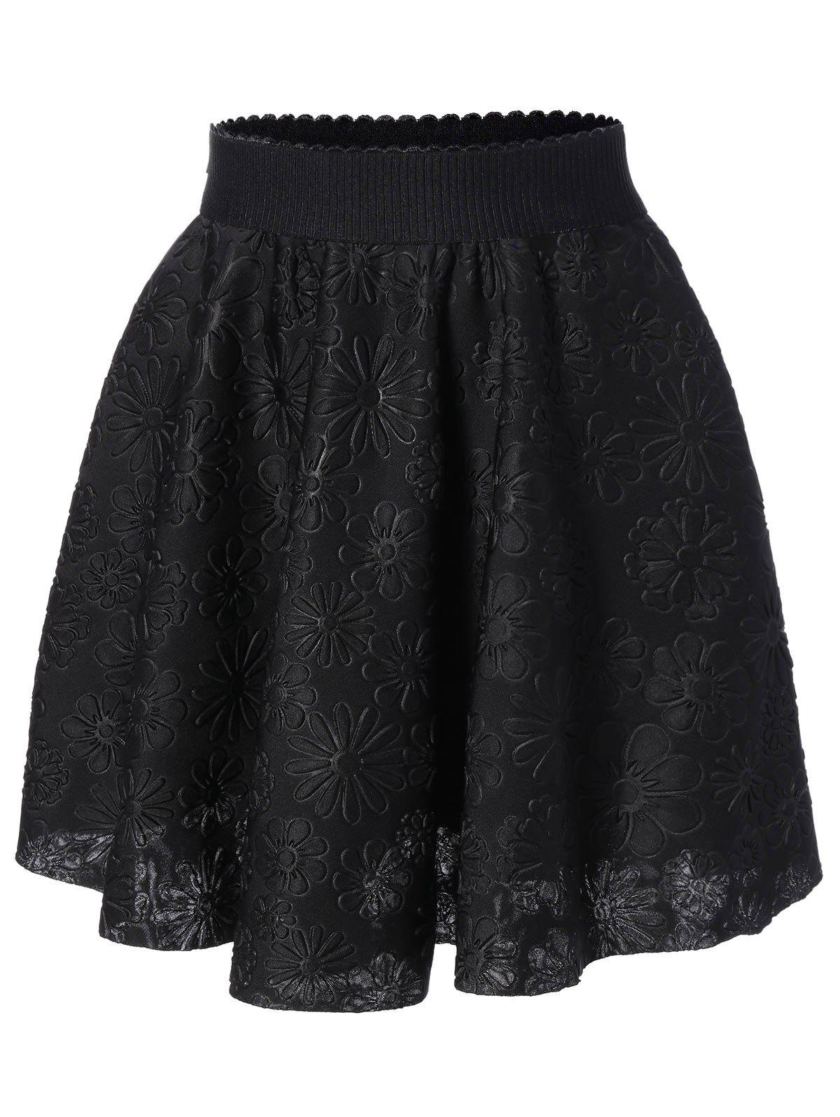 High Waisted Jacquard Flare SkirtWomen<br><br><br>Size: ONE SIZE<br>Color: BLACK