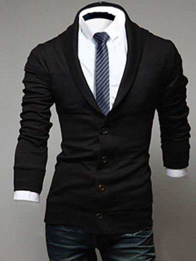 Long Sleeve Shawl Collar Button Up Cardigan - BLACK L