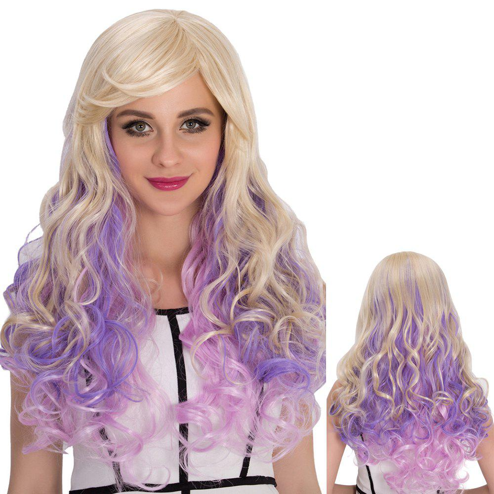 Cosplay Synthetic Multi Color Long Side Bang Shaggy Wavy Wig - COLORMIX