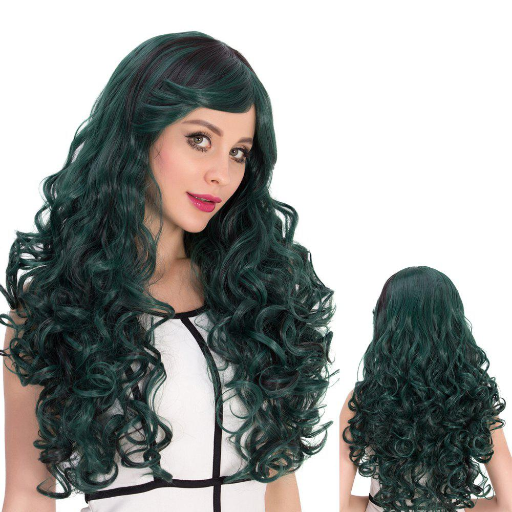 Cosplay Synthetic Dark Green Highlights Long Inclined Bang Shaggy Wavy Wig dd001498 dark green mixed long straight cosplay wig a mesh cap