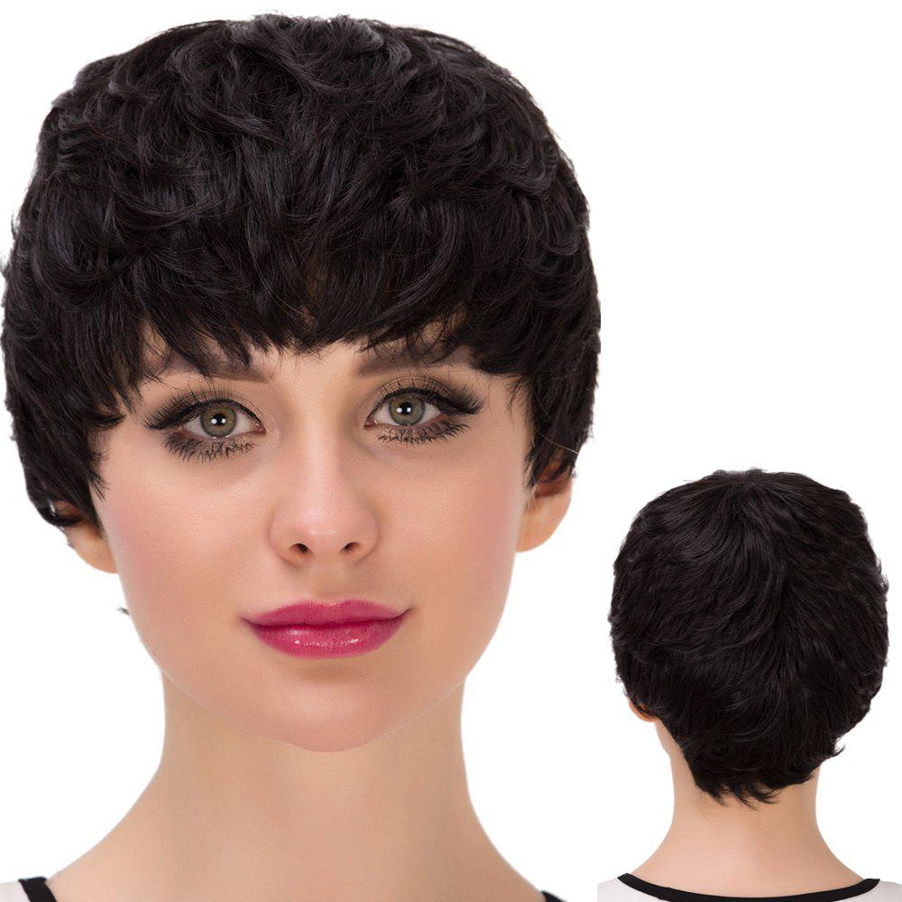 Ultrashort Full Bang Straight Layered Synthetic WigHair<br><br><br>Color: BLACK