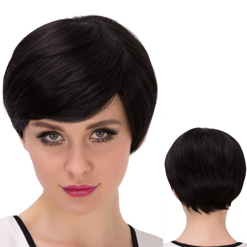 Ultrashort Straight Bob Inclined Bang Synthetic WigHair<br><br><br>Color: JET BLACK