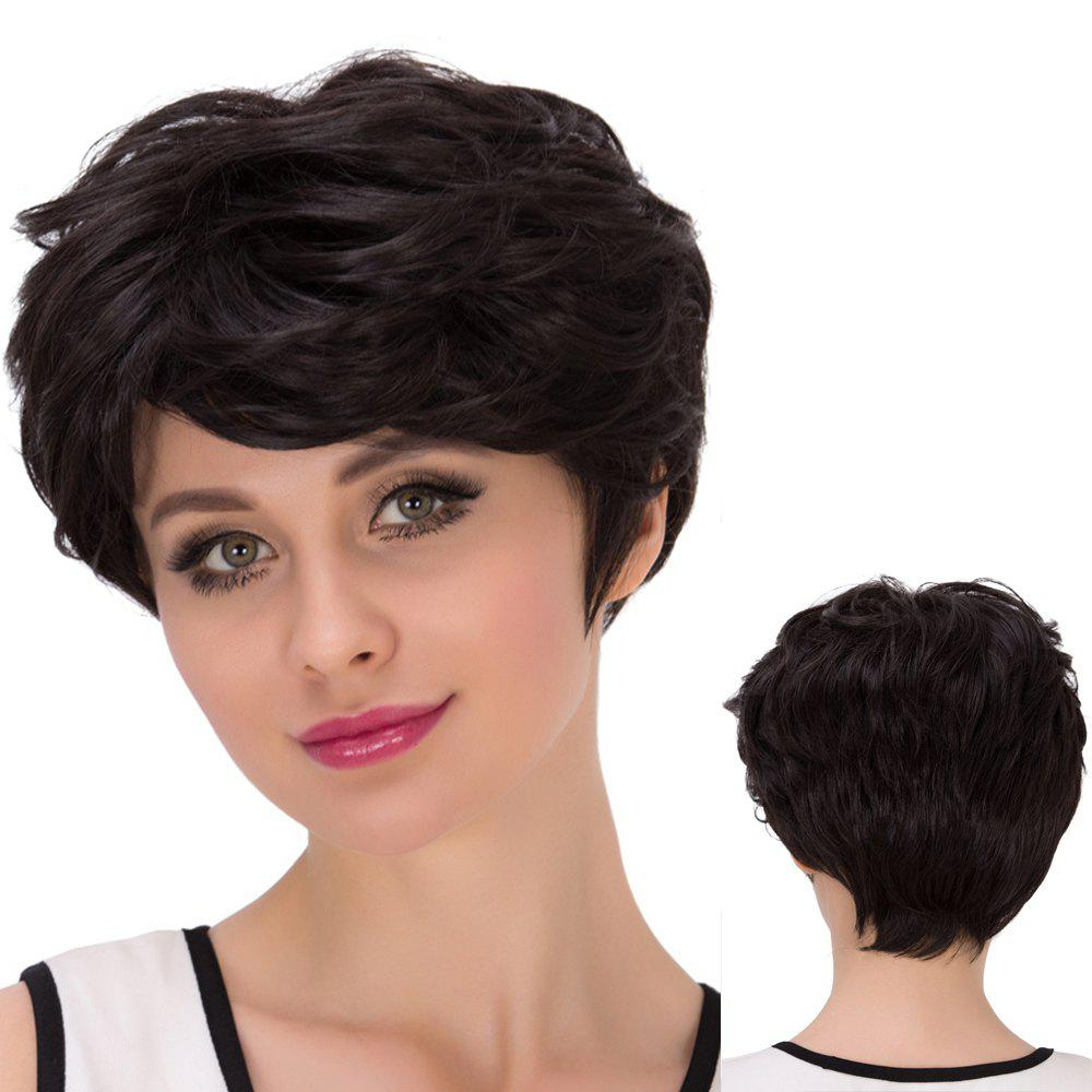 Short Side Bang Straight Shaggy Synthetic WigHair<br><br><br>Color: BLACK BROWN