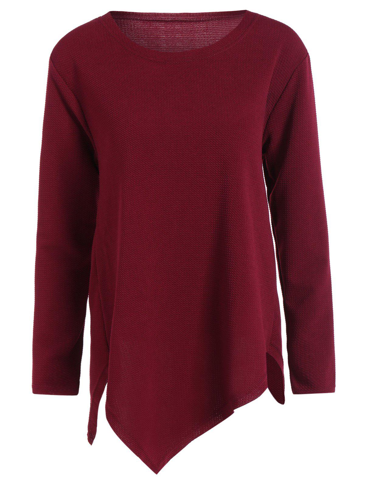 Plus Size Long Sleeve Handkerchief Top - WINE RED 3XL