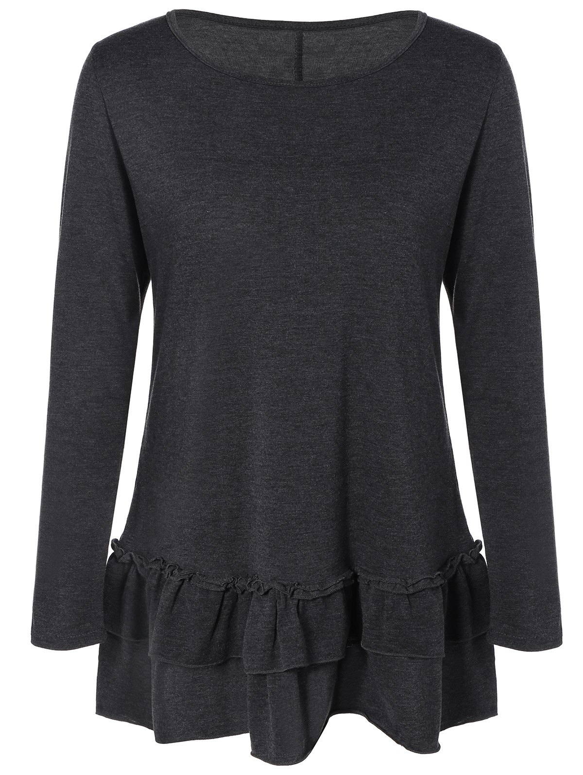 Layered Ruffles Long Sleeve T-Shirt - DEEP GRAY XL
