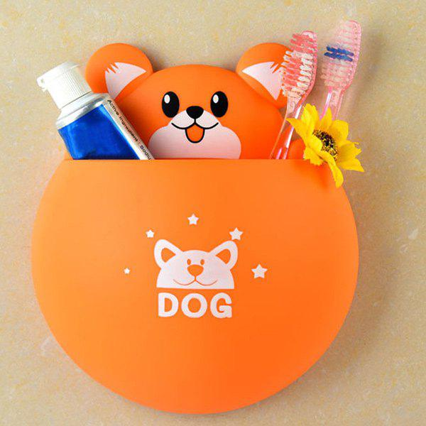 Creative Toothpaste and Toothbrush Sucker Storage Box - ORANGE