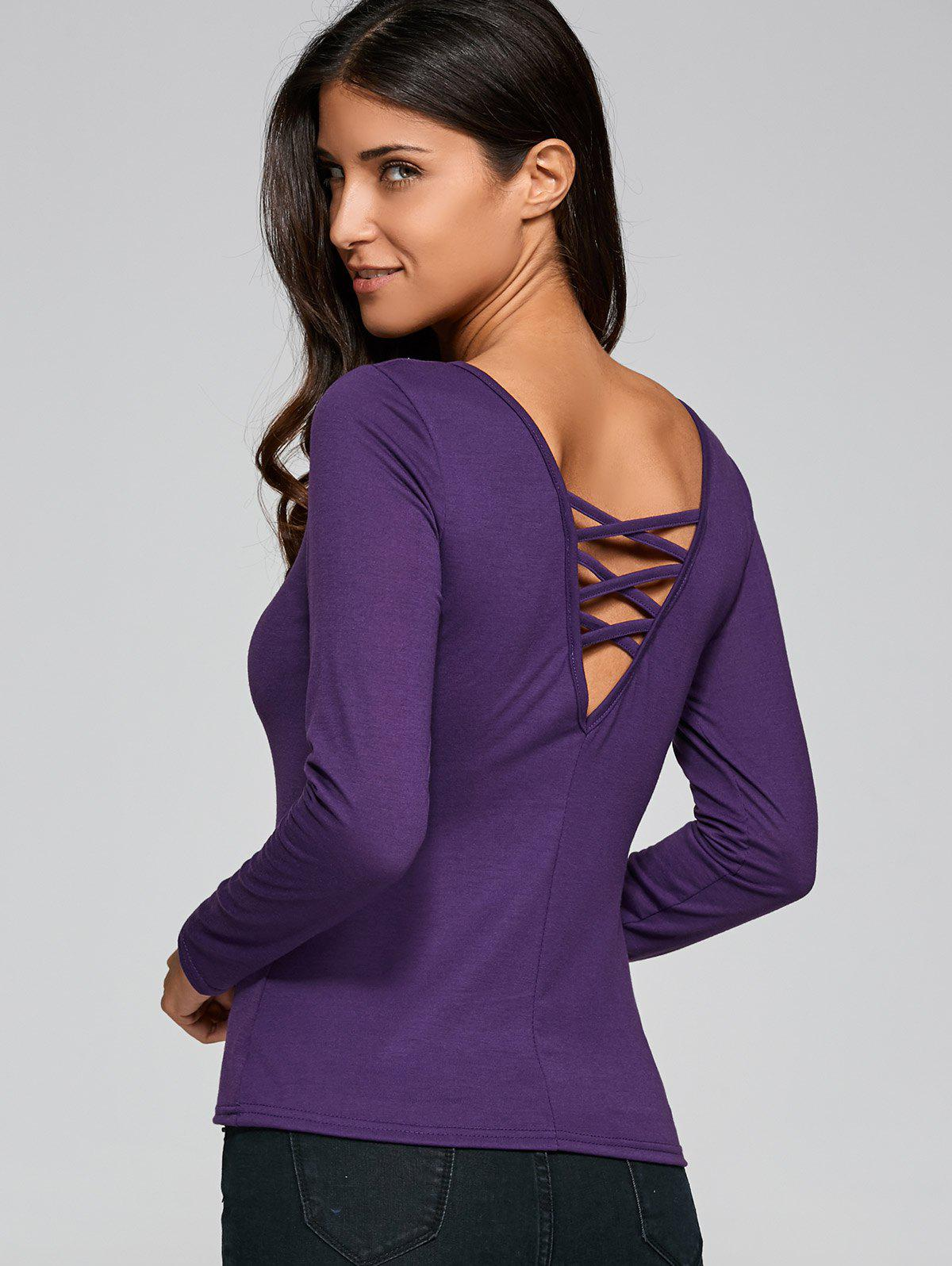 Long Sleeve Cut Out Fitting T-Shirt - PURPLE M