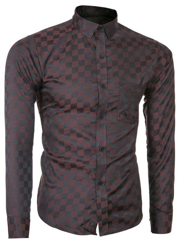Long Sleeve Plaid Printed Single-Breasted Shirt - COFFEE L