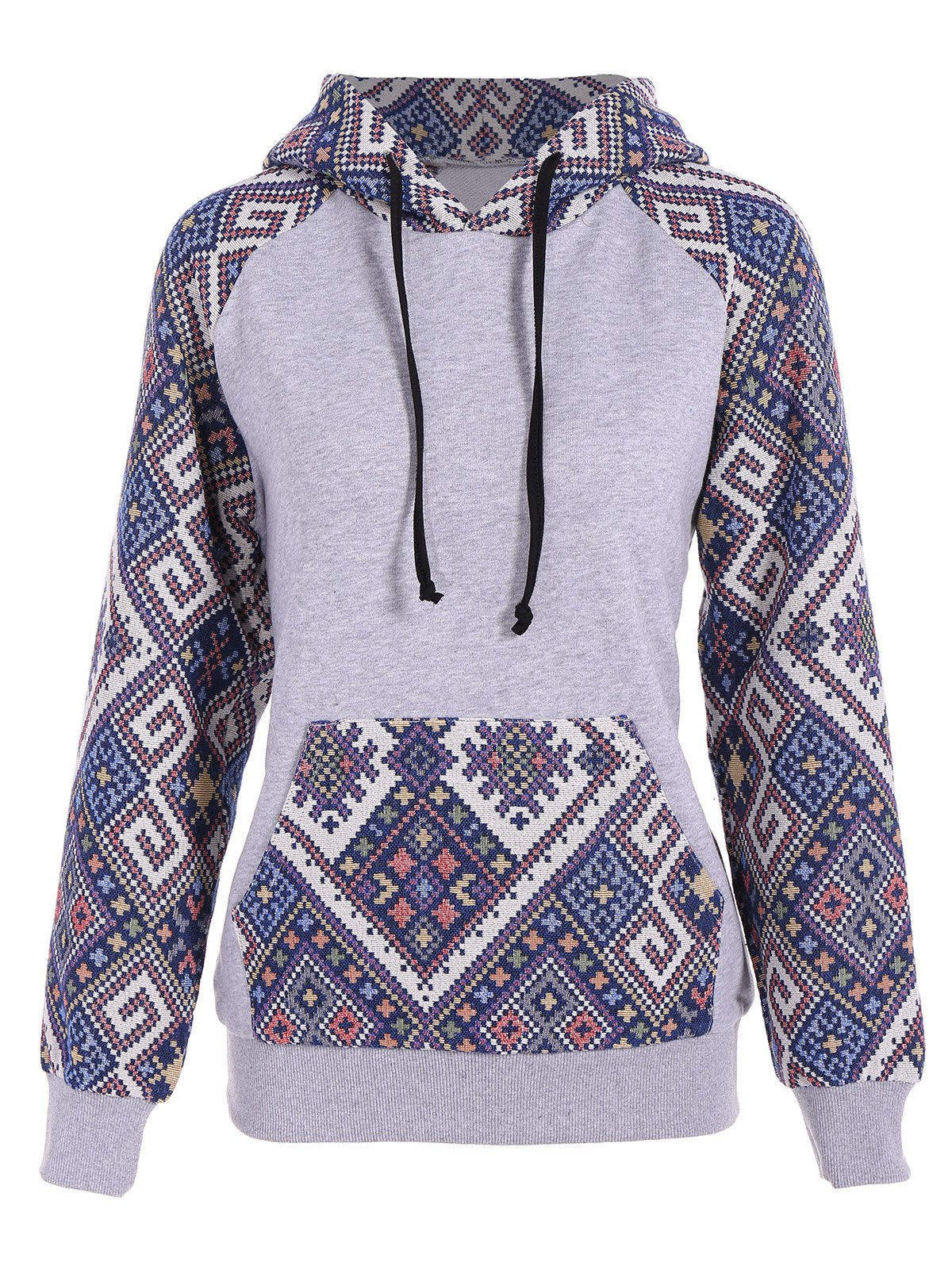 Front Pocket Jacquard Tribal Hoodie - GRAY/BLUE M