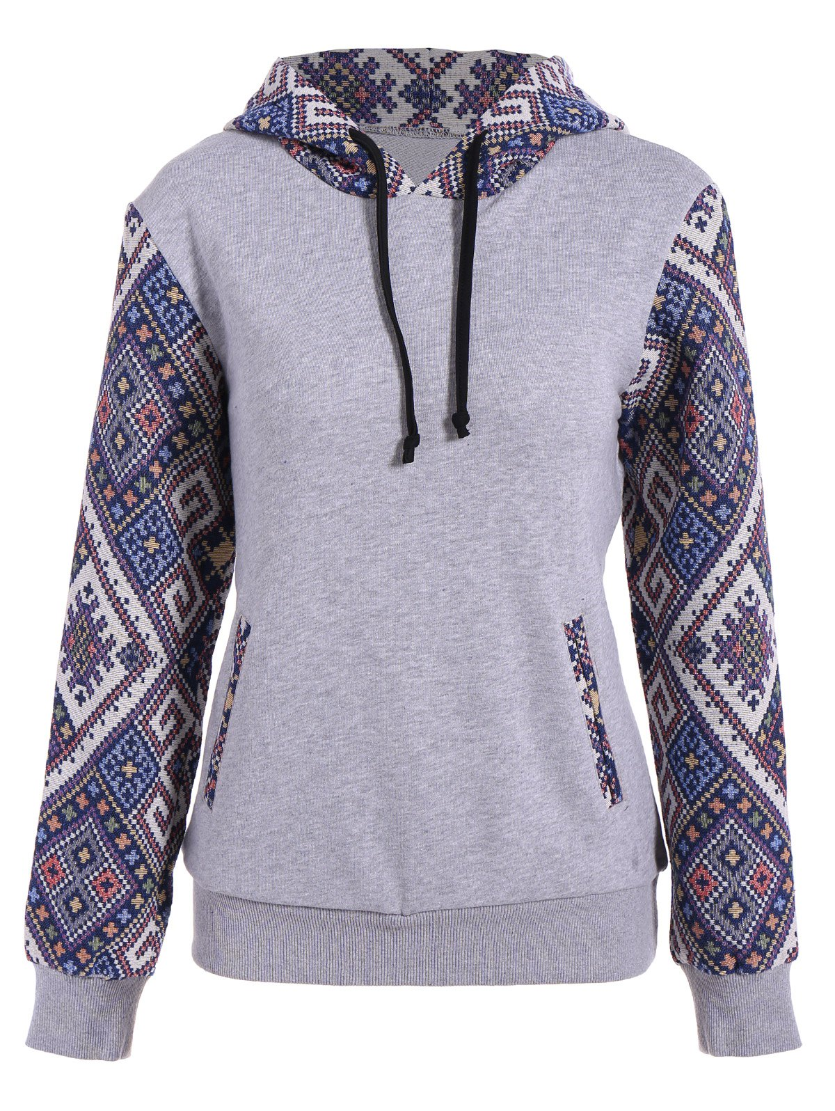 Front Pocket Jacquard Panel Hoodie - GRAY XL