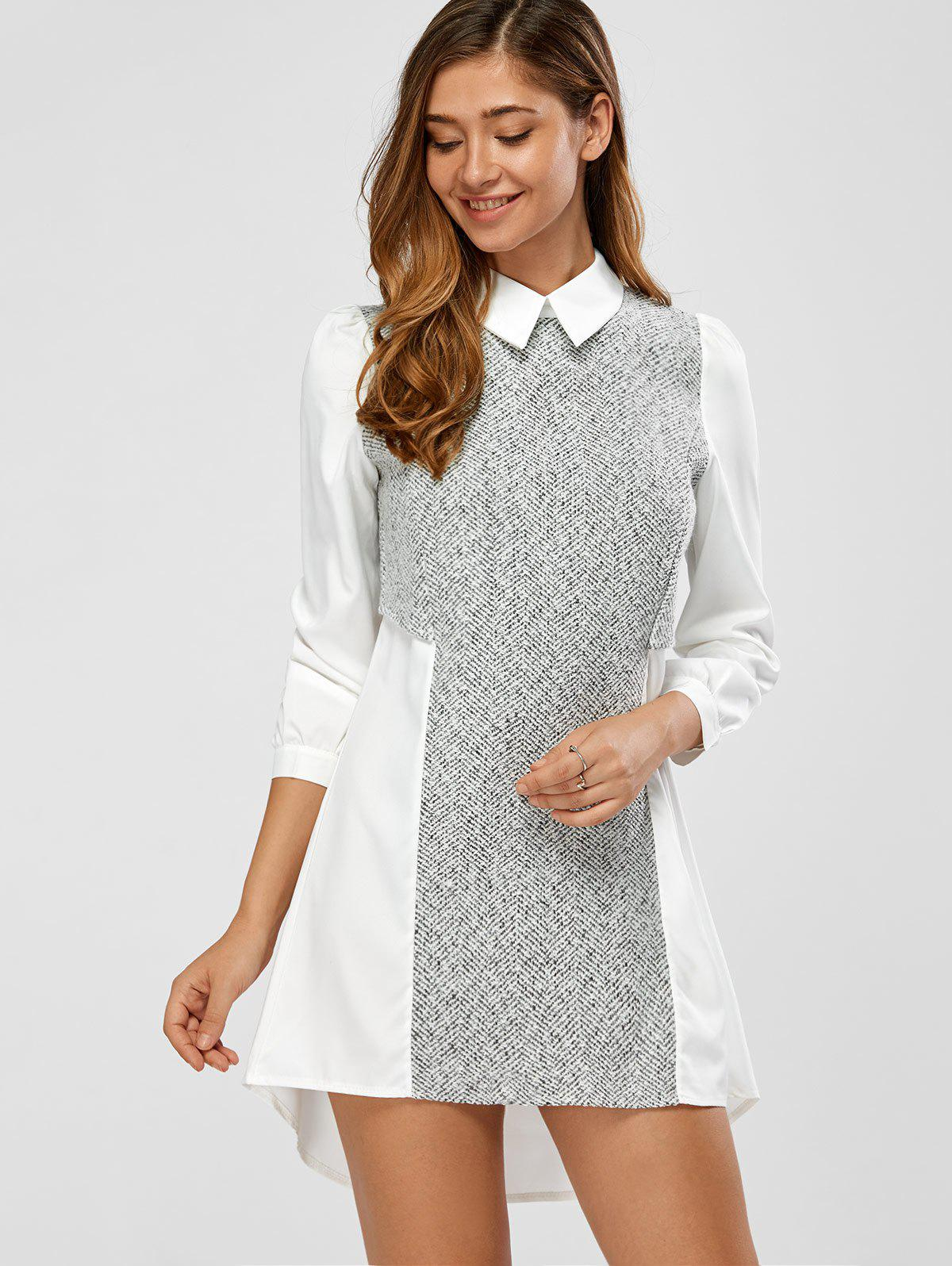High Low Splicing A Line Dress - WHITE S