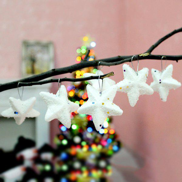6PCS Christmas Tree Hanging Stars Party Supplies Decoration - WHITE