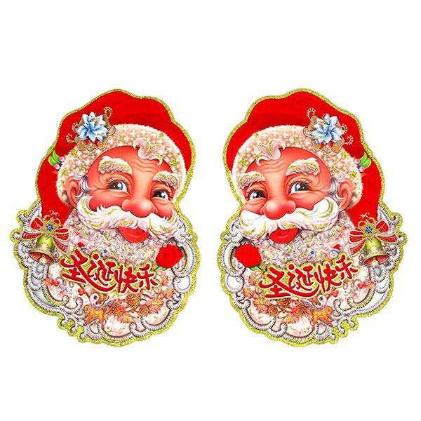 2PCS Christmas Party Decoration Santa Claus Wall Stickers Supplies - RED
