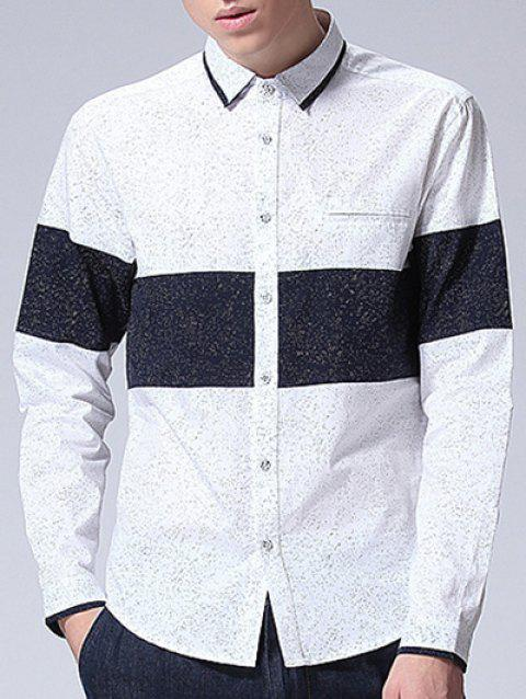 Color Splicing Dot Printed Long Sleeve Shirt - WHITE S