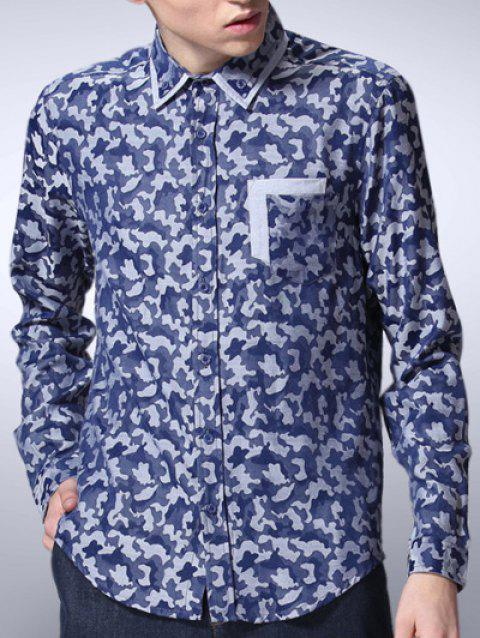 Camouflage Printed Button Down Long Sleeve Shirt - BLUE S