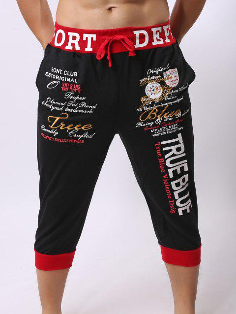 Lace-Up Color Block Spliced Letters Print Beam Feet Men's Jogger Shorts - RED/BLACK 2XL