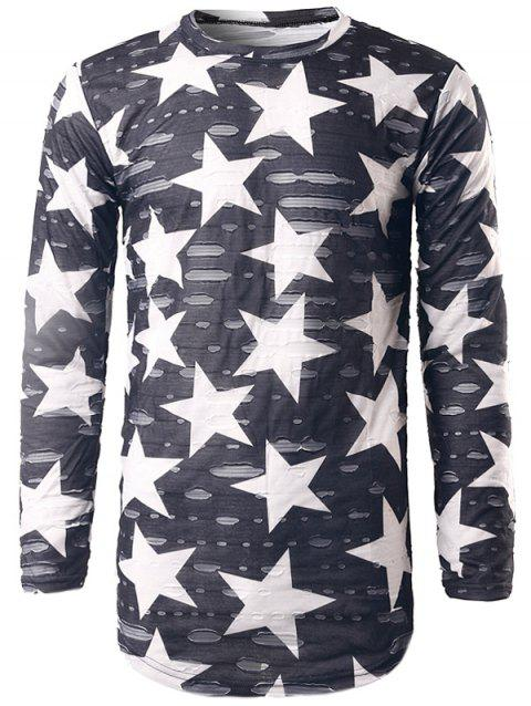 Star Print Long Sleeve Destroyed T-Shirt - GRAY L