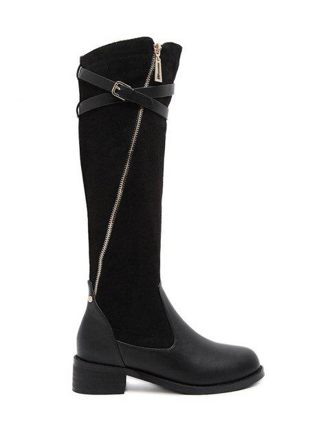 Buckle Splicing Cross Straps Boots - BLACK 37