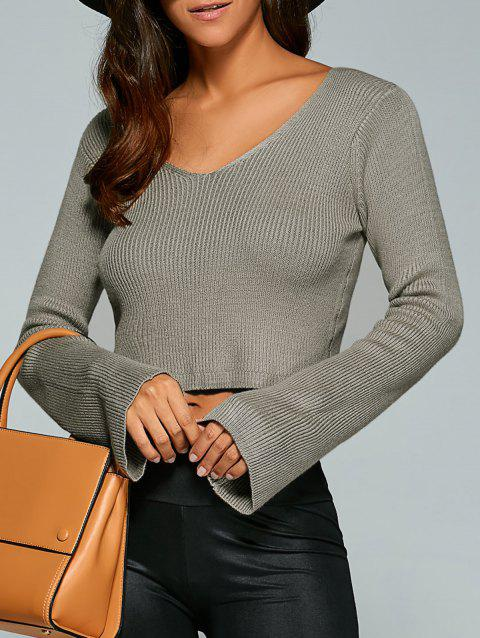 Long Sleeve V Neck Knitted Crop Top - COFFEE ONE SIZE