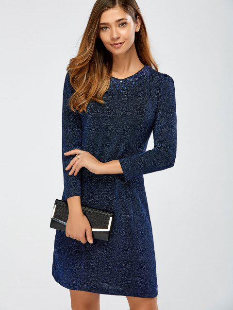 Brillant perlage robe fourreau - Bleu XL