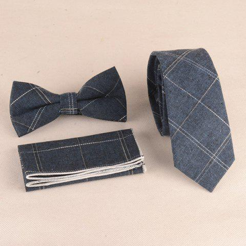 Motif vichy Formal Tie Pocket Square et Bow Tie - Bleu gris