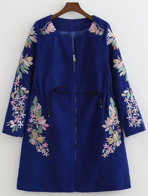 Floral Embroidery Drawstring Coat - SAPPHIRE BLUE S