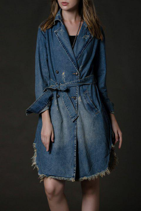 Manteau Frayed Denim Trench - Bleu Toile de Jean M