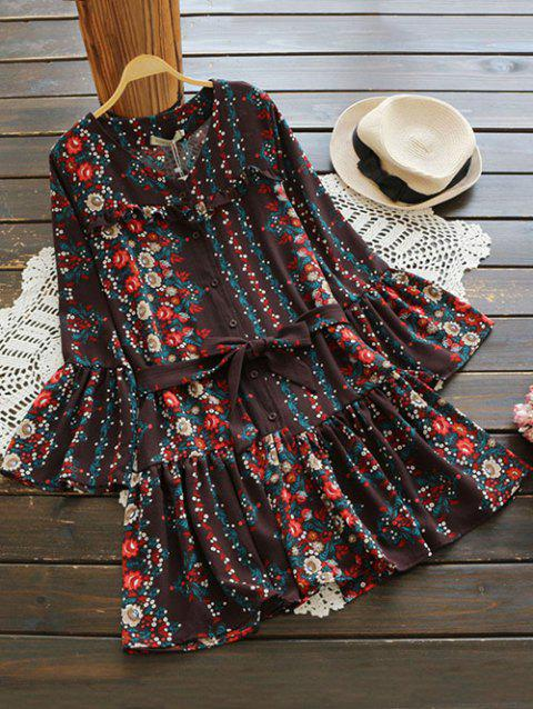 18d2b8e3cc9b 41% OFF  2019 V Neck Bell Sleeve Tiny Floral Belted Dress In COFFEE ...