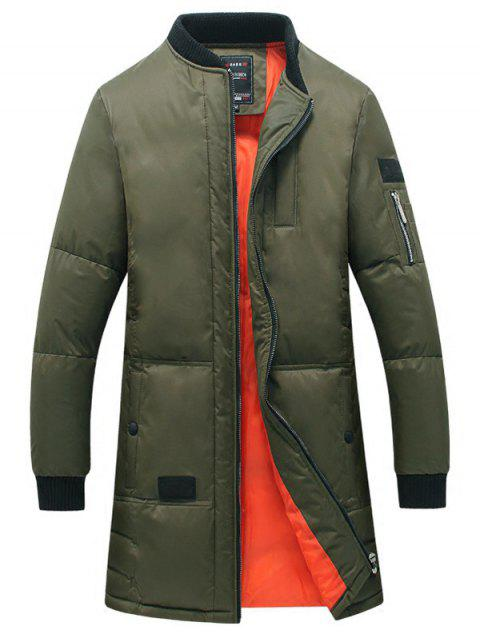 Rib Splicing Stand Collar Zip-Up Lengthen Cotton-Padded Coat - ARMY GREEN M