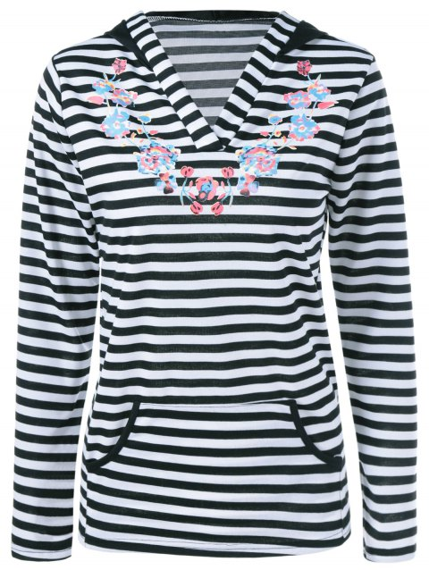 Striped Floral Sweat à capuche - Rayure L