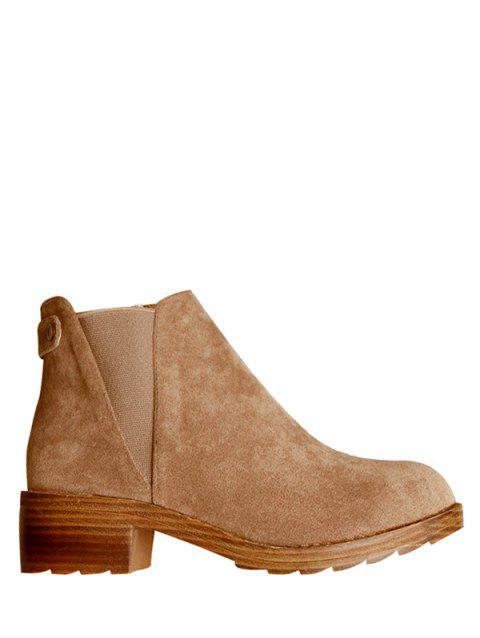 Metal Zipper Elastic Band Ankle Boots - LIGHT BROWN 38