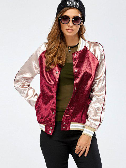 Autumn Color Block Baseball Jacket - WINE RED M