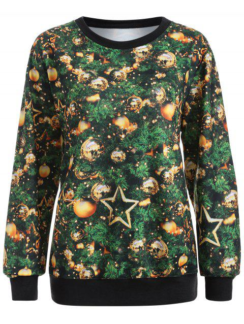 Printed Christmas Pullover Sweatshirt - GREEN L