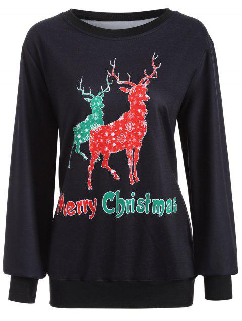 Christmas Deer Print Sweatshirt - BLACK L