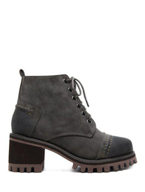 Platform Lace-Up Chunky Heel Ankle Boots - GRAY 38