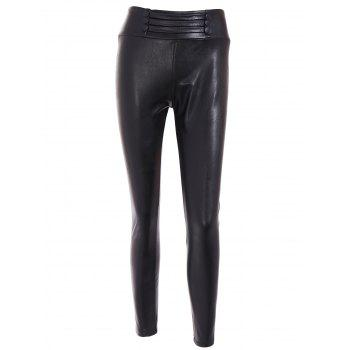 High Waist Buttoned PU Leather Leggings