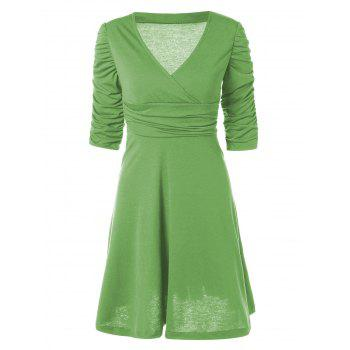 V Neck Ruched Empire Waist Surplice Dress