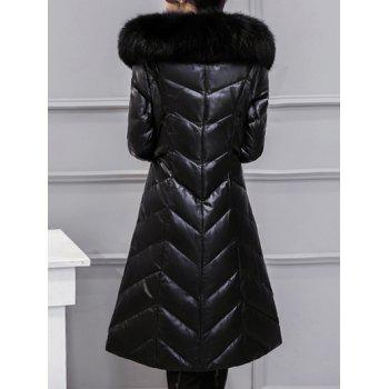 Fur Collar PU Leather Quilted Coat - BLACK L