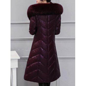 Fur Collar PU Leather Quilted Coat - RED VIOLET XL